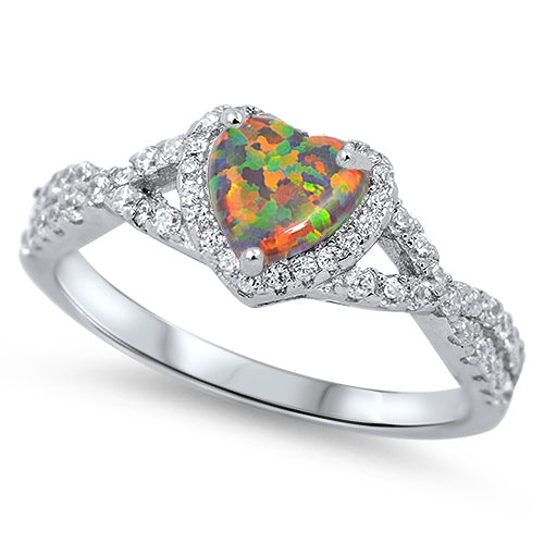 925 Sterling Silver Opal Heart Ring With CZs