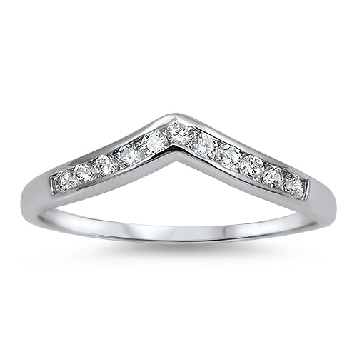 925 Sterling Silver V Ring With Channel Set CZs