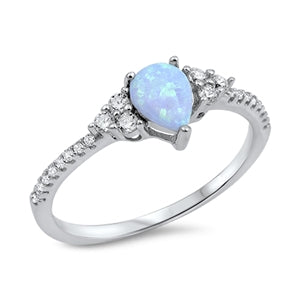 925 Sterling Silver Ring With Darker Blue Opal & CZ