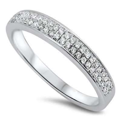 925 Sterling Silver 4mm CZ Stackable Ring