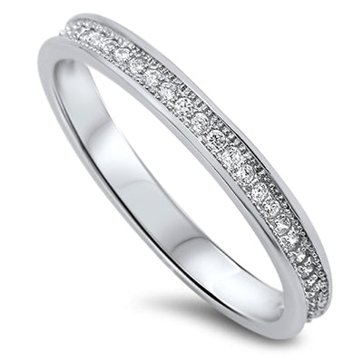 925 Sterling Silver 2mm CZ Eternity Ring - Stackable