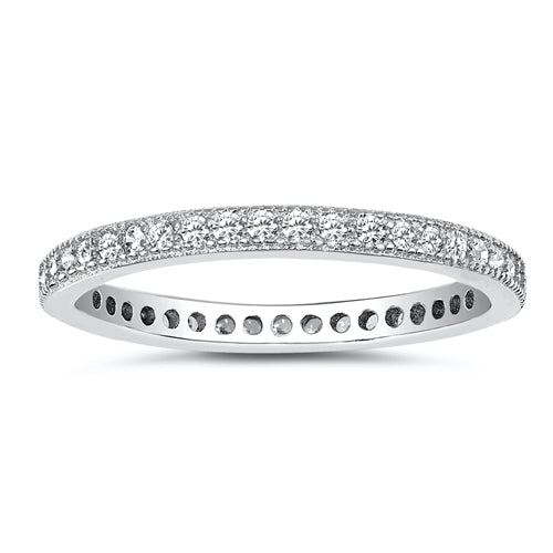 925 Sterling Silver CZ Eternity Ring - 2mm
