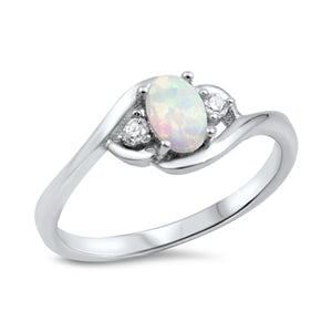 925 Sterling Silver Ring With Blue Opal & CZ