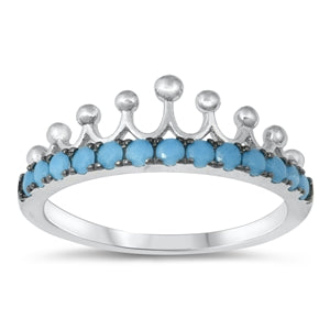 925 Sterling Silver Crown Ring With CZ or Nano Turquoise