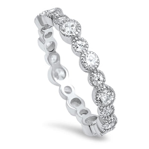 925 Sterling Silver CZ Eternity Ring - 4mm