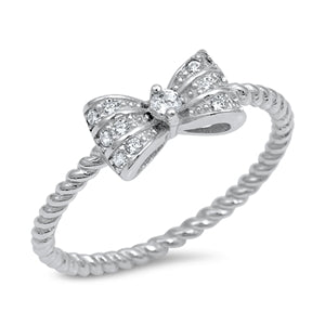 925 Sterling Silver Small Ribbon Ring With CZ