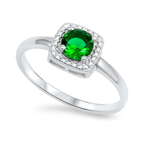 925 Sterling Silver Created Emerald Ring