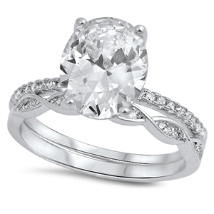 925 Sterling Silver Engagement Ring Set - Oval Shape