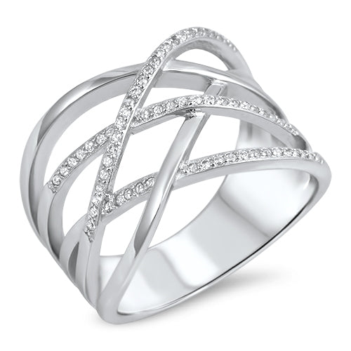 925 Sterling Silver 17mm Cross Over Pattern Ring With Clear CZ