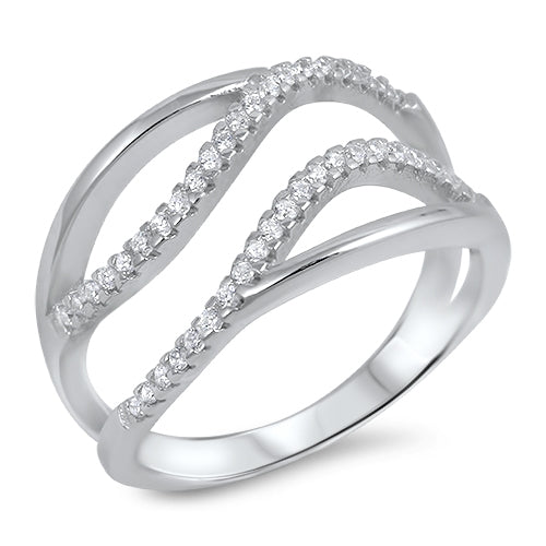 925 Sterling Silver Wavy Design Ring With Clear CZ