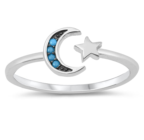 925 Sterling Silver Moon & Star Ring With Clear CZ or Nano Turquoise