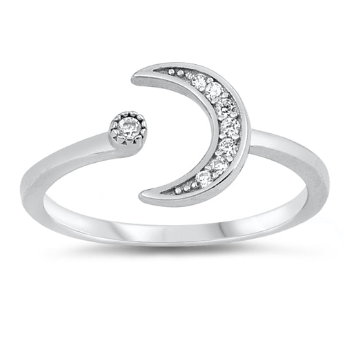 925 Sterling Silver Moon & Star Ring With Clear CZ - 12mm