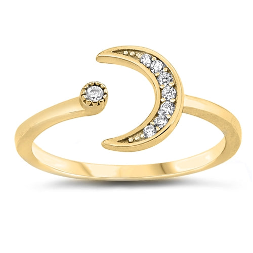 925 Sterling Silver Moon & Star Ring With Clear CZ - 9mm