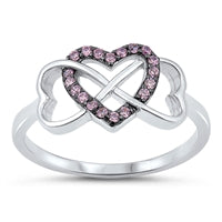 925 Sterling Silver Infinity Love Heart Rings With Clear CZ