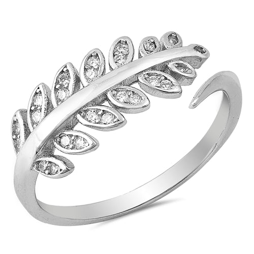 925 Sterling Silver Leaves Ring With CZ