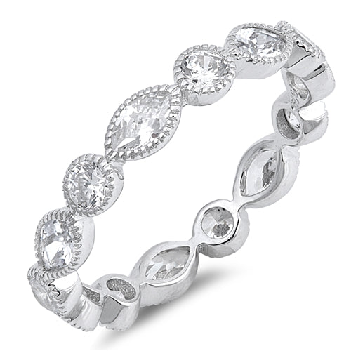 925 Sterling Silver 4mm CZ Eternity Ring - Stackable