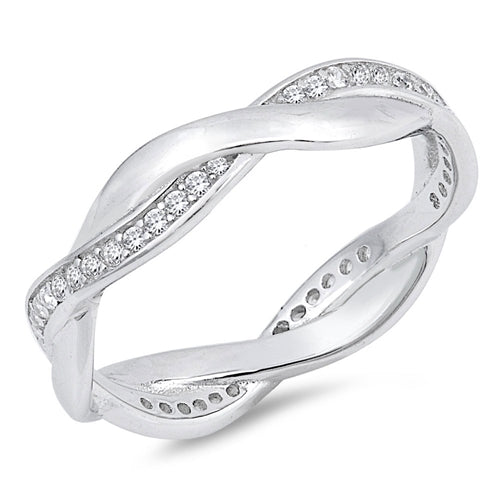 925 Sterling Silver 5mm Eternity Braided Band - Stackable