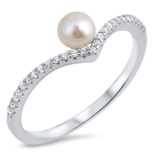 925 Sterling Silver V Ring With Pearl