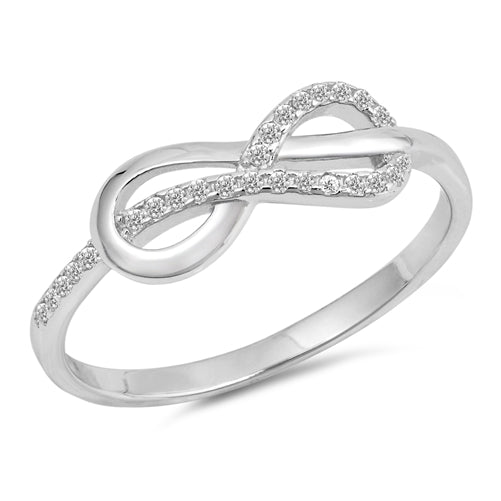 925 Sterling Silver Infinity &  Wavy Abstract Infinity Ring With Clear CZ