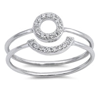 925 Sterling Silver Half Circle Set With CZ