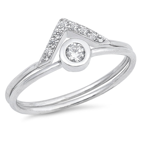925 Sterling Silver Solitaire V Set Ring Set With CZ