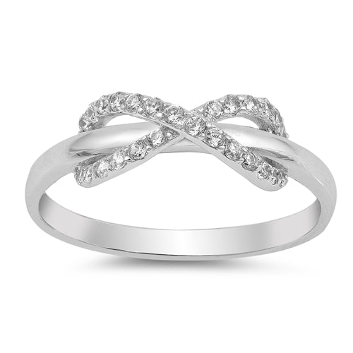 925 Sterling Silver Infinity Ring With Clear CZ