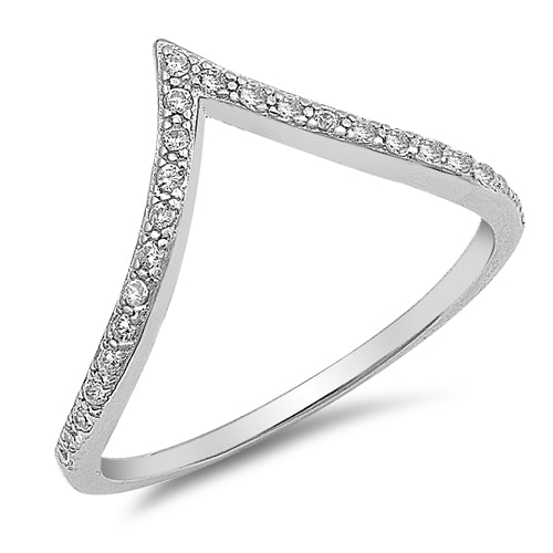 925 Sterling Silver V Shape Ring With Clear CZ