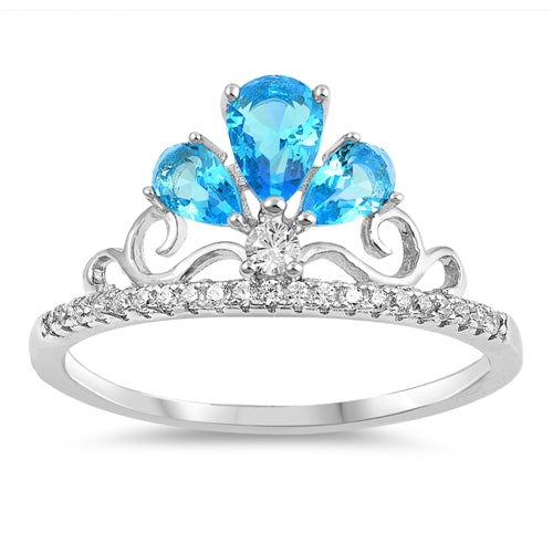 925 Sterling Silver Crown Ring With CZ