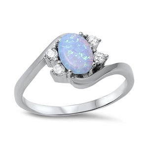 925 Sterling Silver Opal Ring With CZs.