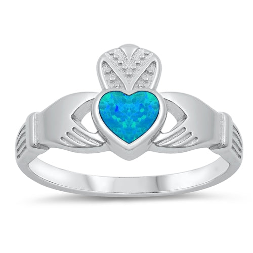 925 Sterling Silver Irish Claddagh Ring  With Opal Inlay