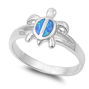 925 Sterling Silver Turtle Ring With Opal Inlay