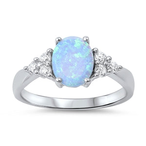 925 Sterling Silver Ring With Opal & CZs