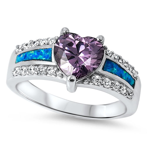 925 Sterling Silver Amethyst Heart Ring With Opal Inlay