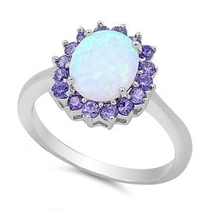 925 Sterling Silver Ring With Opal & Amethyst CZ