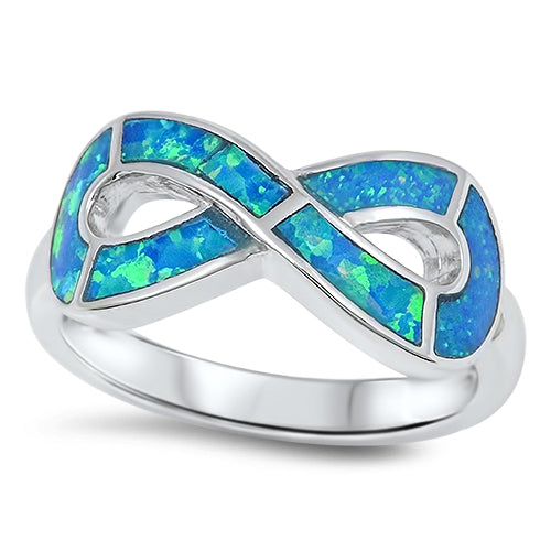 925 Sterling Silver Infinity Ring With Opal Inlay
