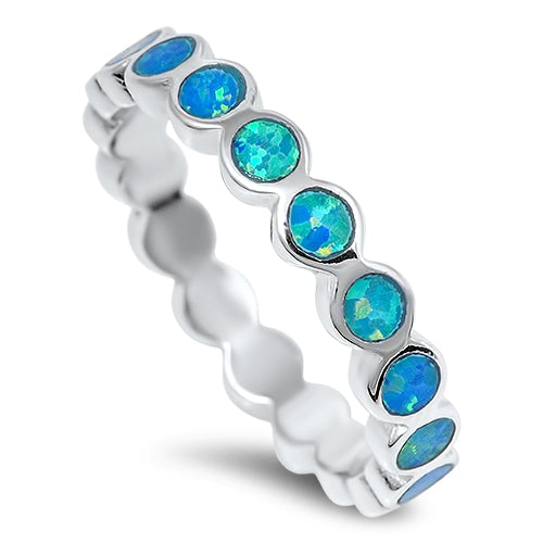925 Sterling Silver Opal 4mm Band - Stackable Ring