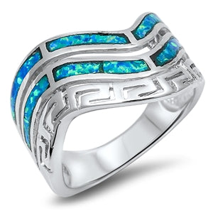 925 Sterling Silver Spiral Ring With Opal Inlay