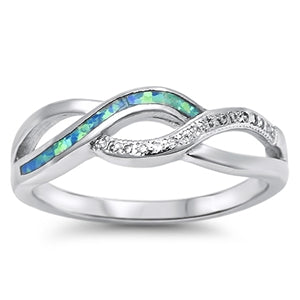 925 Sterling Silver Infinity Band With Opal Inlay & CZ