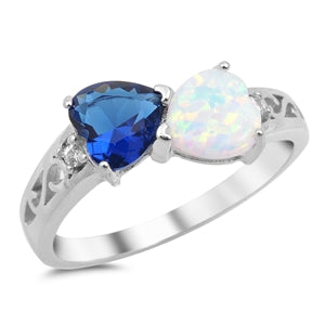 925 Sterling Silver Heart-to-Heart Ring With Opal & CZ