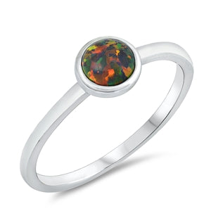 925 Sterling Silver Ring With Small Round Opal