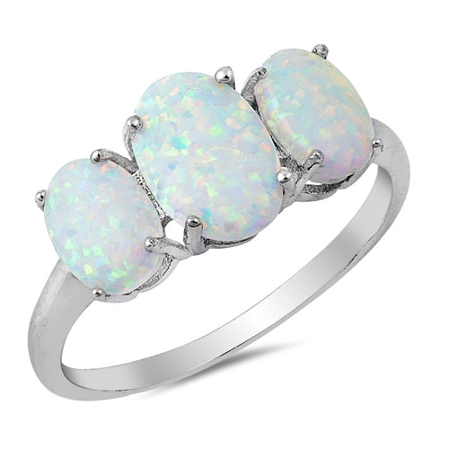 925 Sterling Silver Triple Opal Ring