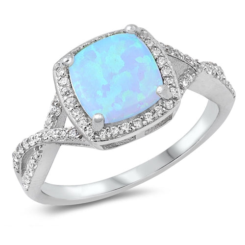 925 Sterling Silver Princess Cut Ring With Opal & CZs