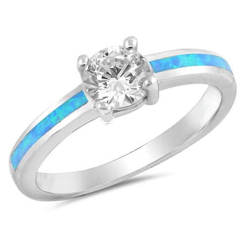 925 Sterling Silver Ring With CZ and Opal Inlay