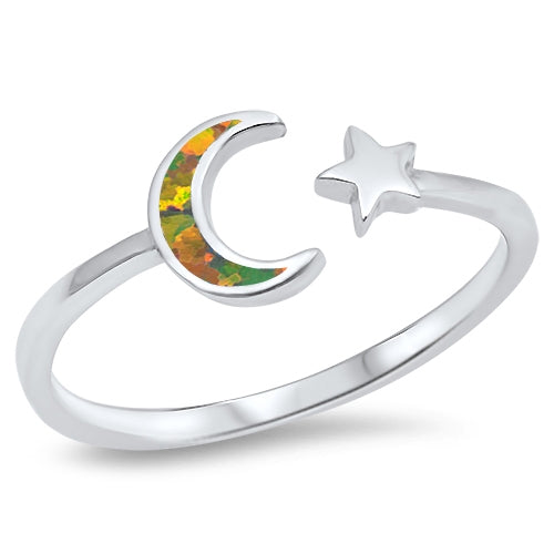 925 Sterling Silver Moon & Star Ring With Opal Inlay