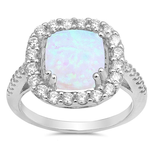 925 Sterling Silver Princess Cut Opal Ring With CZs