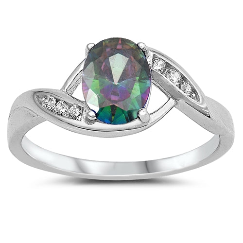 925 Sterling Silver With CZ/Opal