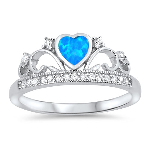 925 Sterling Silver Crown Ring With Opal Heart
