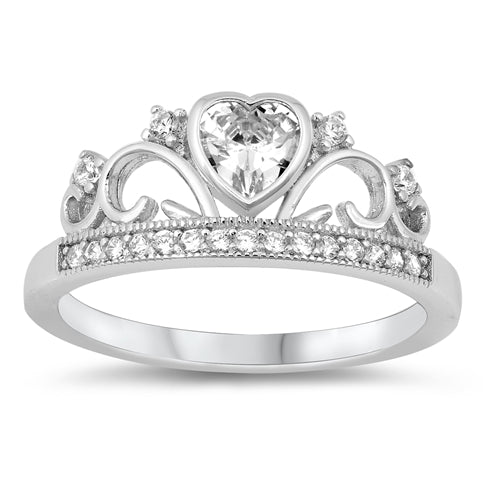 925 Sterling Silver Crown Ring With CZ Heart