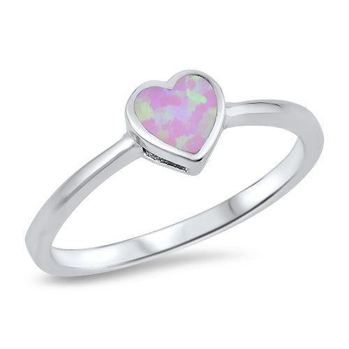 925 Sterling Silver Heart Ring With Onyx, Abalone, or Opal