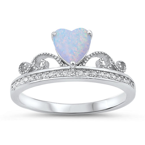 925 Sterling Silver Princess Crown Ring With Opal Heart